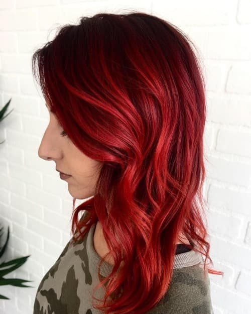 FULL BLOWN DARK RED HAIR COLOR FOR CURLY HAIR