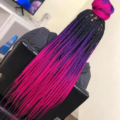 PURPLE TO RED GHANA BRAIDING STYLE