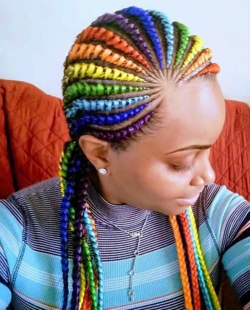 RAINBOW ASYMMETRIC BRAID STYLE