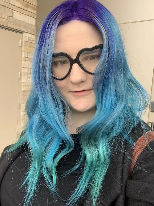 VIOLET AZURE BLUE HAIR COLOR