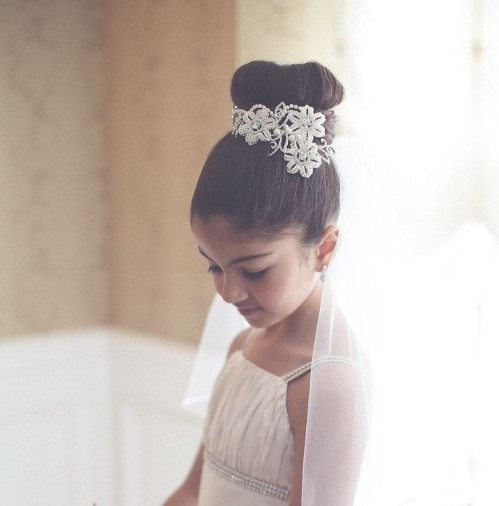 Donut-like Hairstyle For Holy Communion