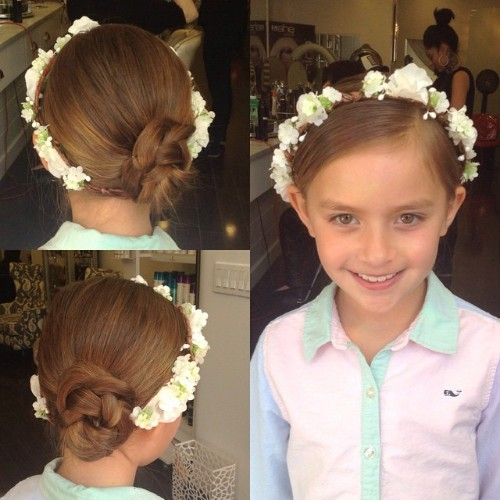 Chic Low Bun Updo Hairstyle For First Holy Communion