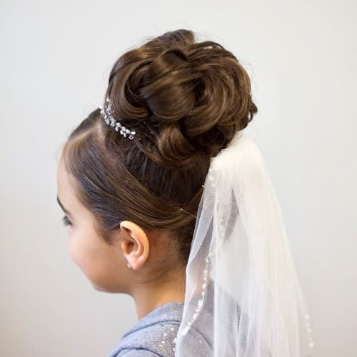 First Holy Communion High Bun Updo