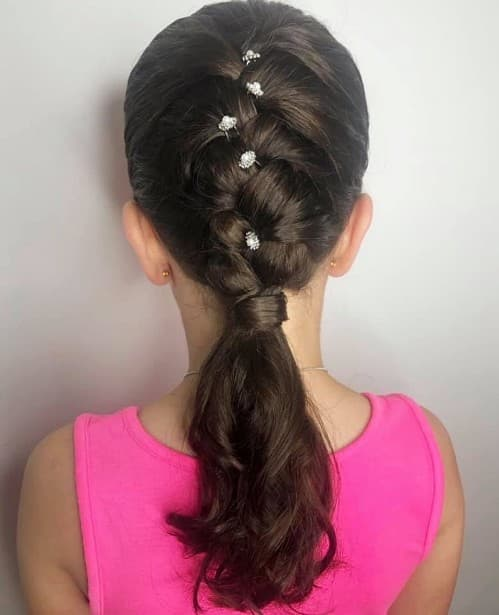 Holy Communion Ponytail Hairstyle For Wavy Hair