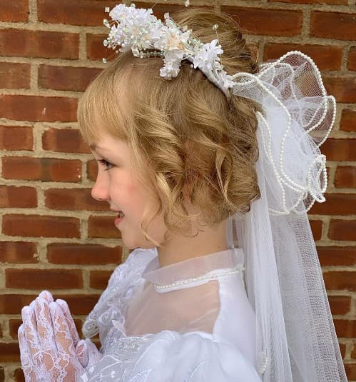 Wavy Updo Bun For Holy Communion