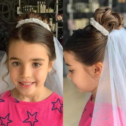 Updo Hairstyle For First Holy Communion