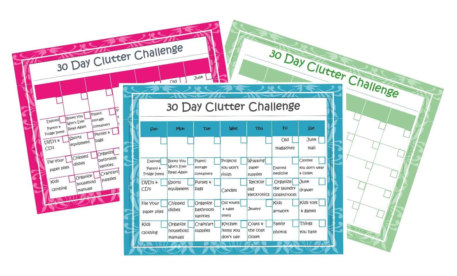 30 Days To An Organized Home Calendar Printable