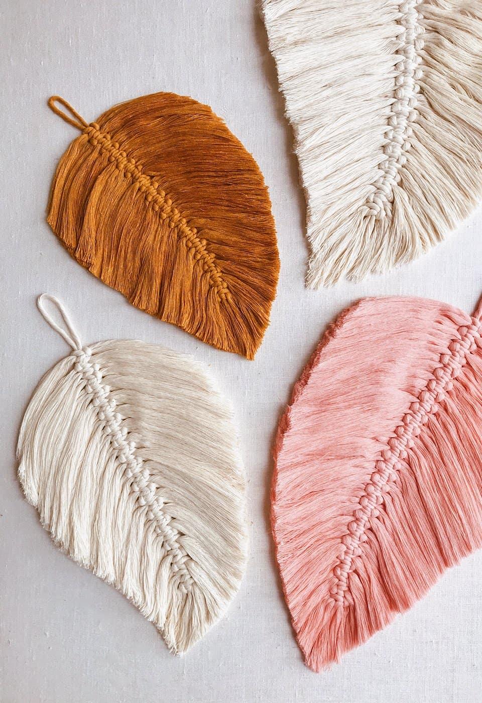 diy macrame feathers