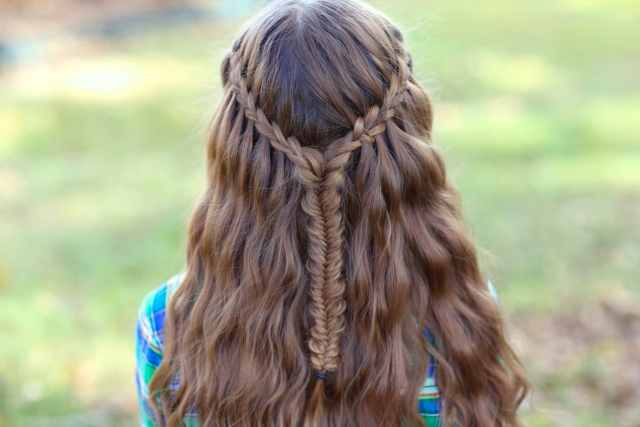 20 waterfall braid with curls for special occasions
