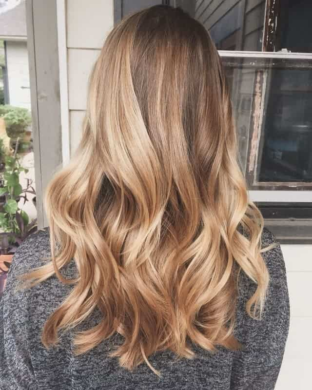long hair with golden balayage