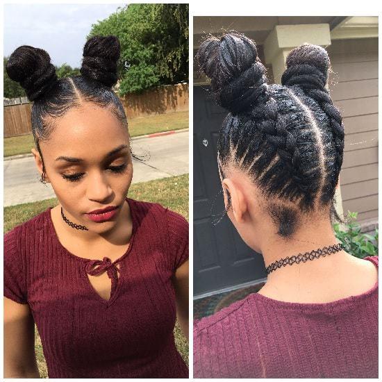 nigerian briaded ninja bun hairstyle