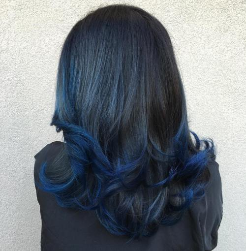 Image Result For Black Hair With Blue Tips