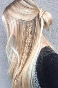 messy bun with fishtails