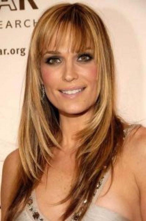 Women Over 40 long layers blunt bangs