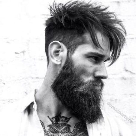 14 Barber-Approved Long Hairstyles For Men | Spiky Long Hair with Shaved Sides and Beard | Hairstyleonpoint.com