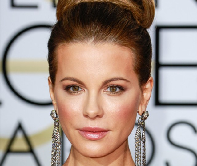 Kate Beckinsale Long Straight Formal Updo Hairstyle Brunette Hair Color