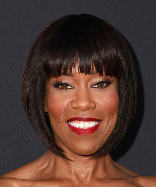 Regina King Medium Straight Formal Bob Hairstyle With