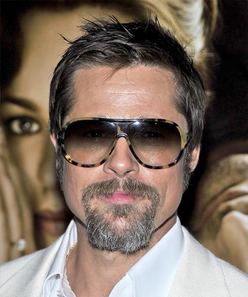 Brad Pitt Casual Short Straight Hairstyle Dark Ash