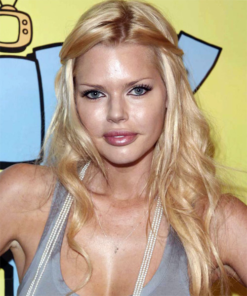 Sophie Monk Long Curly Casual Half Up Hairstyle