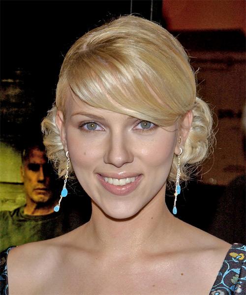 Scarlett Johansson Formal Medium Wavy Updo Hairstyle