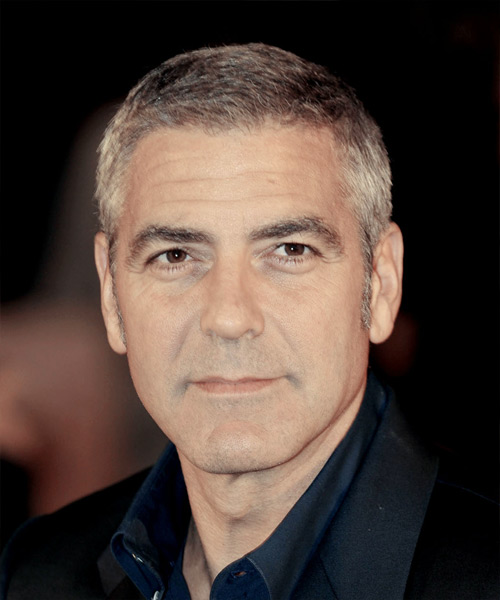 George Clooney Short Straight Formal Hairstyle Light