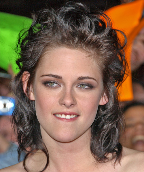 Kristen Stewart Long Curly Casual Half Up Hairstyle