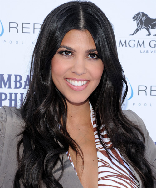 Kourtney Kardashian Casual Long Wavy Hairstyle