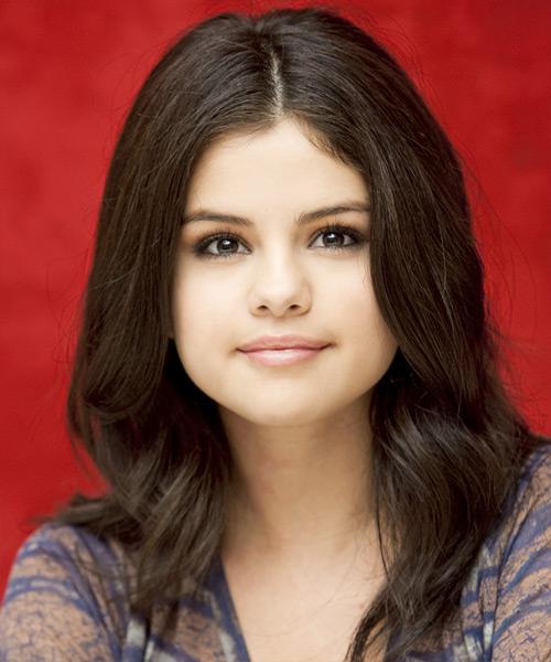 Selena Gomez Medium Wavy Casual Hairstyle Chocolate Hair