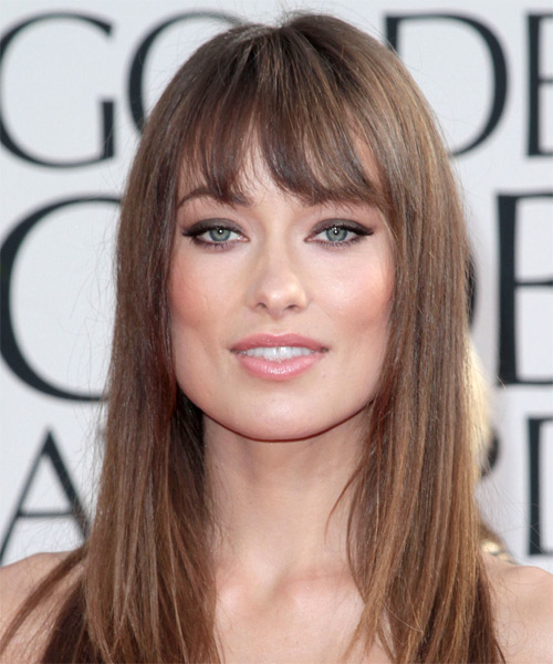 Olivia Wilde Casual Long Straight Hairstyle Chestnut