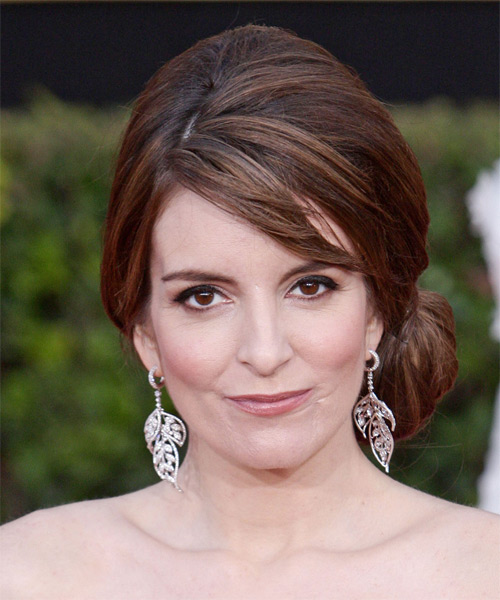 Tina Fey Long Curly Casual Updo Hairstyle With Side Swept