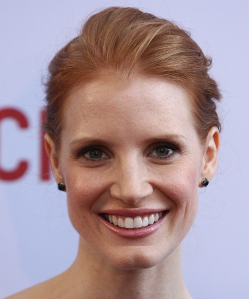Jessica Chastain Long Straight Formal Updo Hairstyle