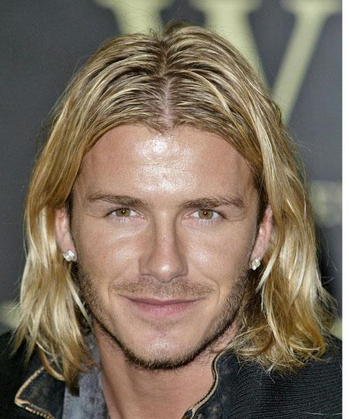 David Beckham Long Wavy Casual Hairstyle