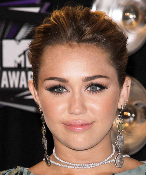 Miley Cyrus Long Curly Formal Updo Hairstyle Brunette