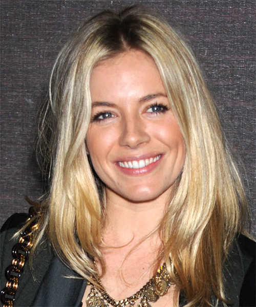 Sienna Miller Long Straight Casual Hairstyle Blonde Hair