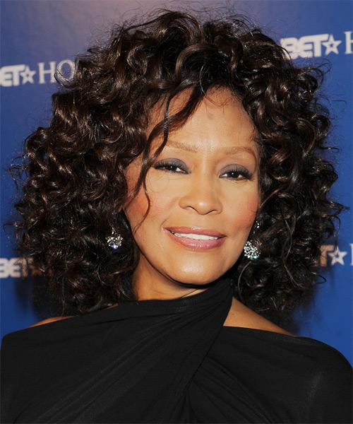 Whitney Houston Medium Curly Formal Hairstyle Black Hair