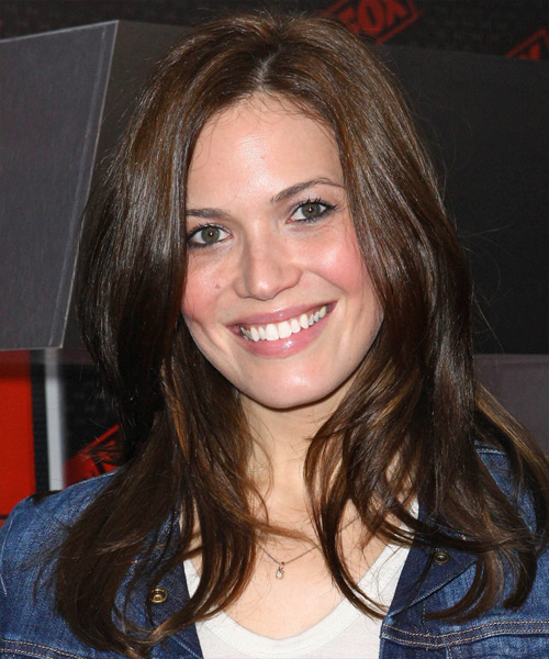 Mandy Moore Long Straight Casual Hairstyle Dark Brunette