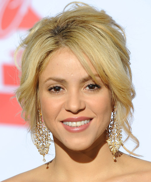 Shakira Long Straight Formal Updo Hairstyle With Layered