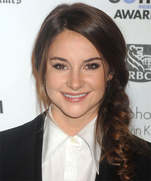 Shailene Woodley Long Curly Casual Braided Updo Hairstyle