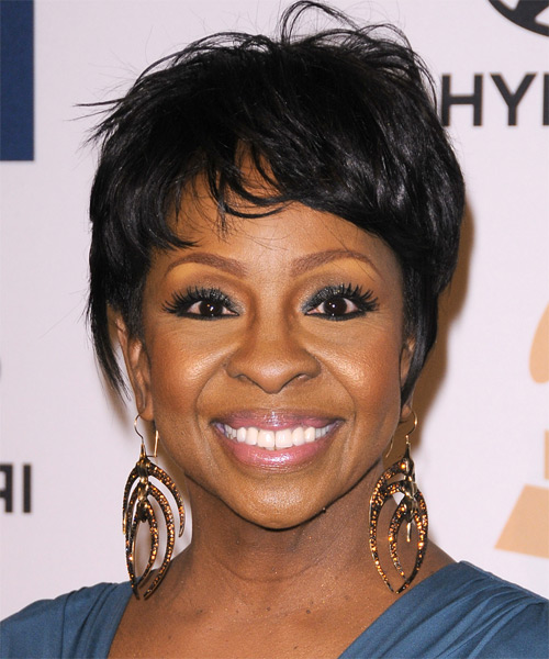 Gladys Knight Short Straight Casual Hairstyle With Layered