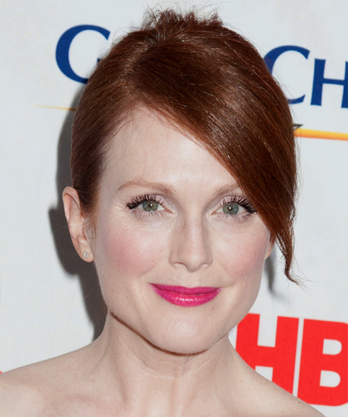 Julianne Moore Formal Long Straight Updo Hairstyle With