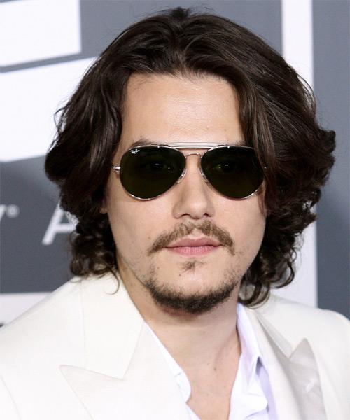 John Mayer Long Wavy Casual Hairstyle Dark Brunette Hair