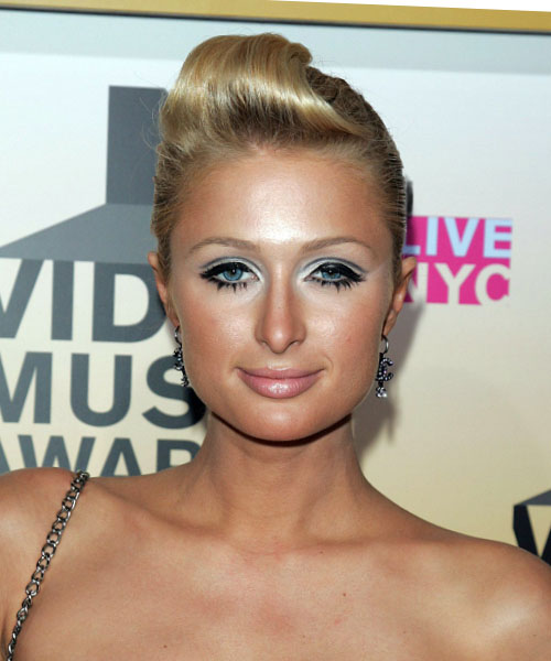 Paris Hilton Long Straight Formal Updo Hairstyle