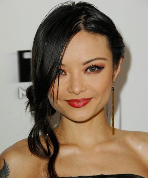 Tila Tequila Long Straight Casual Updo Hairstyle Black