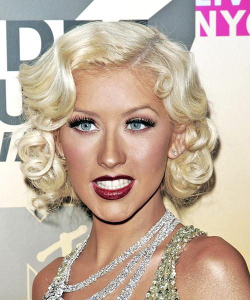 Christina Aguilera Medium Wavy Formal Hairstyle Light