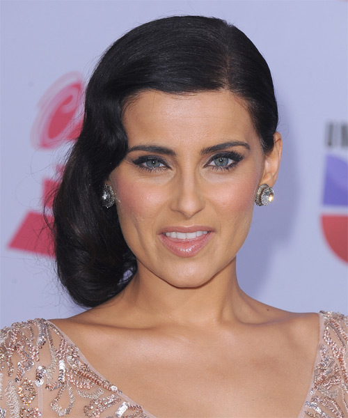 Nelly Furtado Formal Long Curly Half Up Hairstyle Black