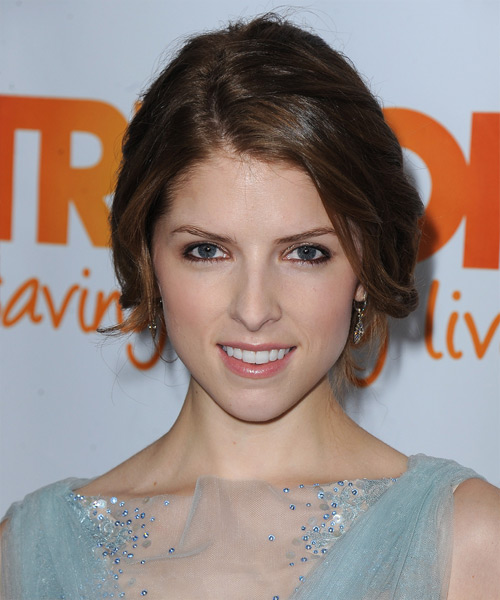 Anna Kendrick Long Straight Casual Updo Hairstyle