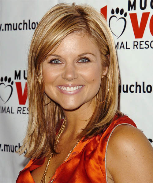 Tiffani Thiessen Long Straight Casual Hairstyle Copper