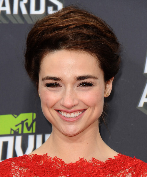 Crystal Reed Updo Long Straight Formal Updo Hairstyle