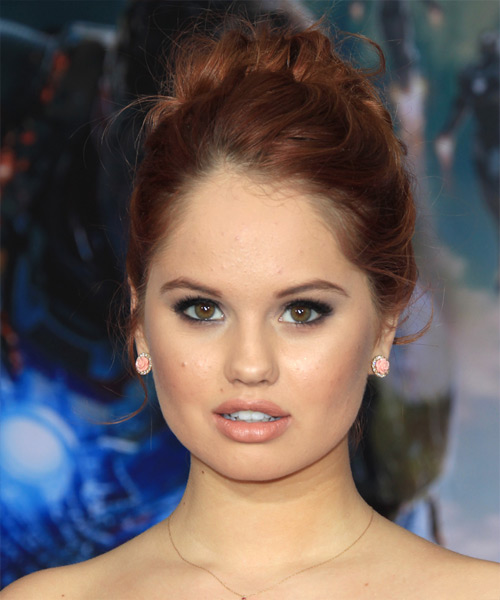 Debby Ryan Long Curly Formal Updo Hairstyle Red Hair Color