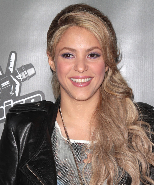Shakira Long Curly Casual Half Up Hairstyle Champagne
